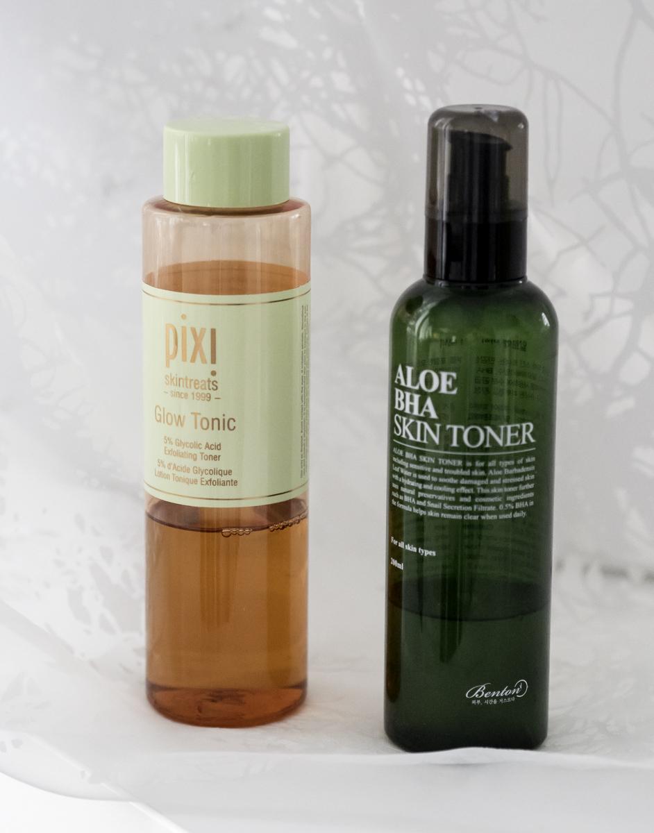 parhaat kosmetiikkatuotteet: Pixi Glow Tonic, Benton Aloe BHA Skin Toner